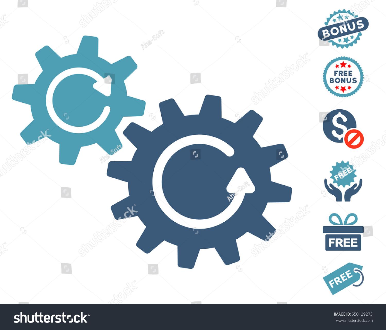 Cogs Rotation Icon Free Bonus Graphic Stock Vector 550129273 ...
