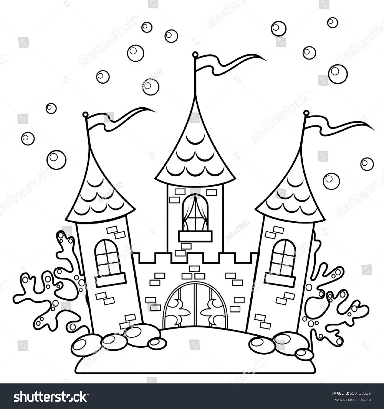 Underwater Castle Black White Vector Illustration Stock