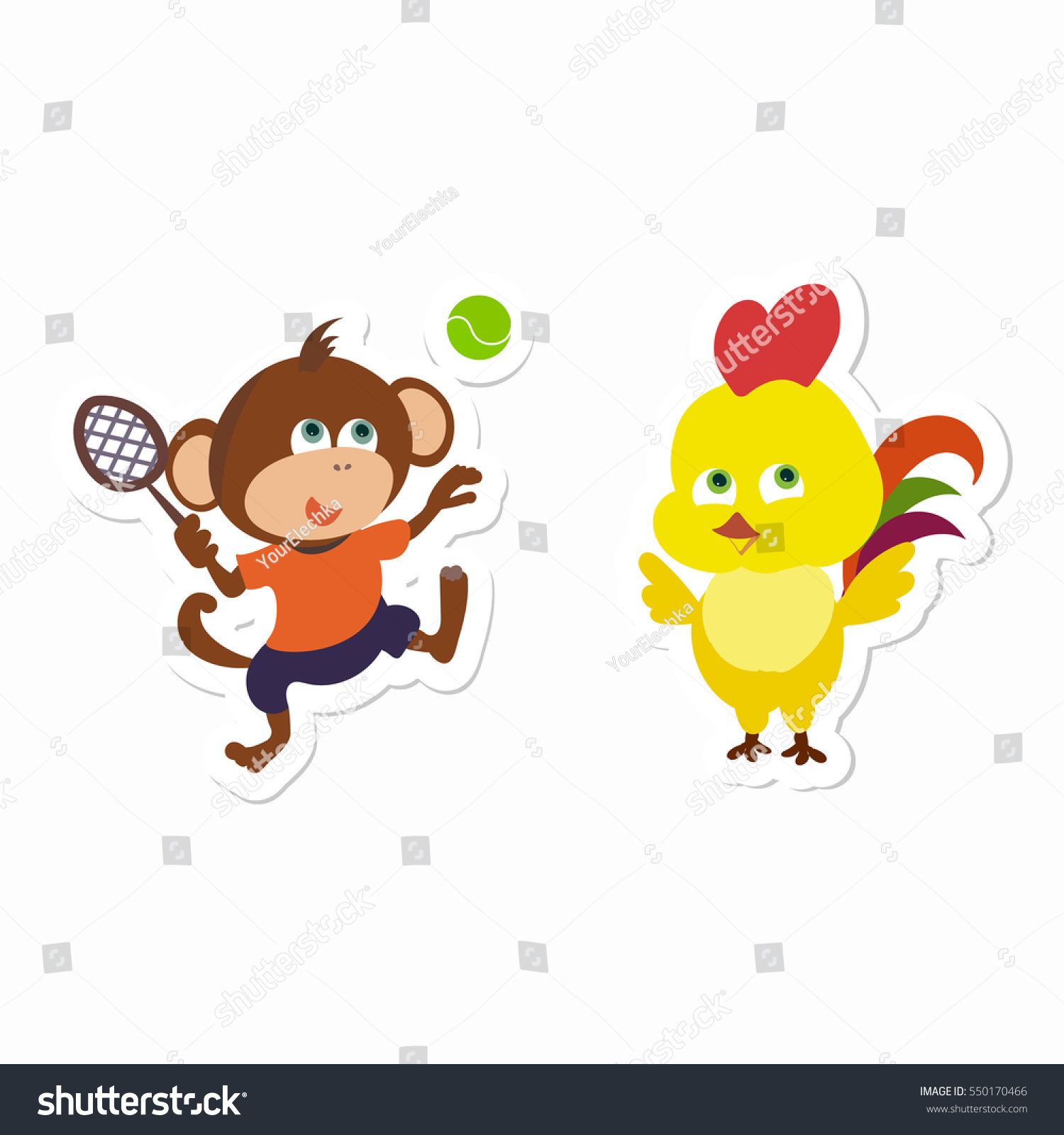 Monkey Playing Tennis Happy Rooster Stickers Stock Vector Royalty