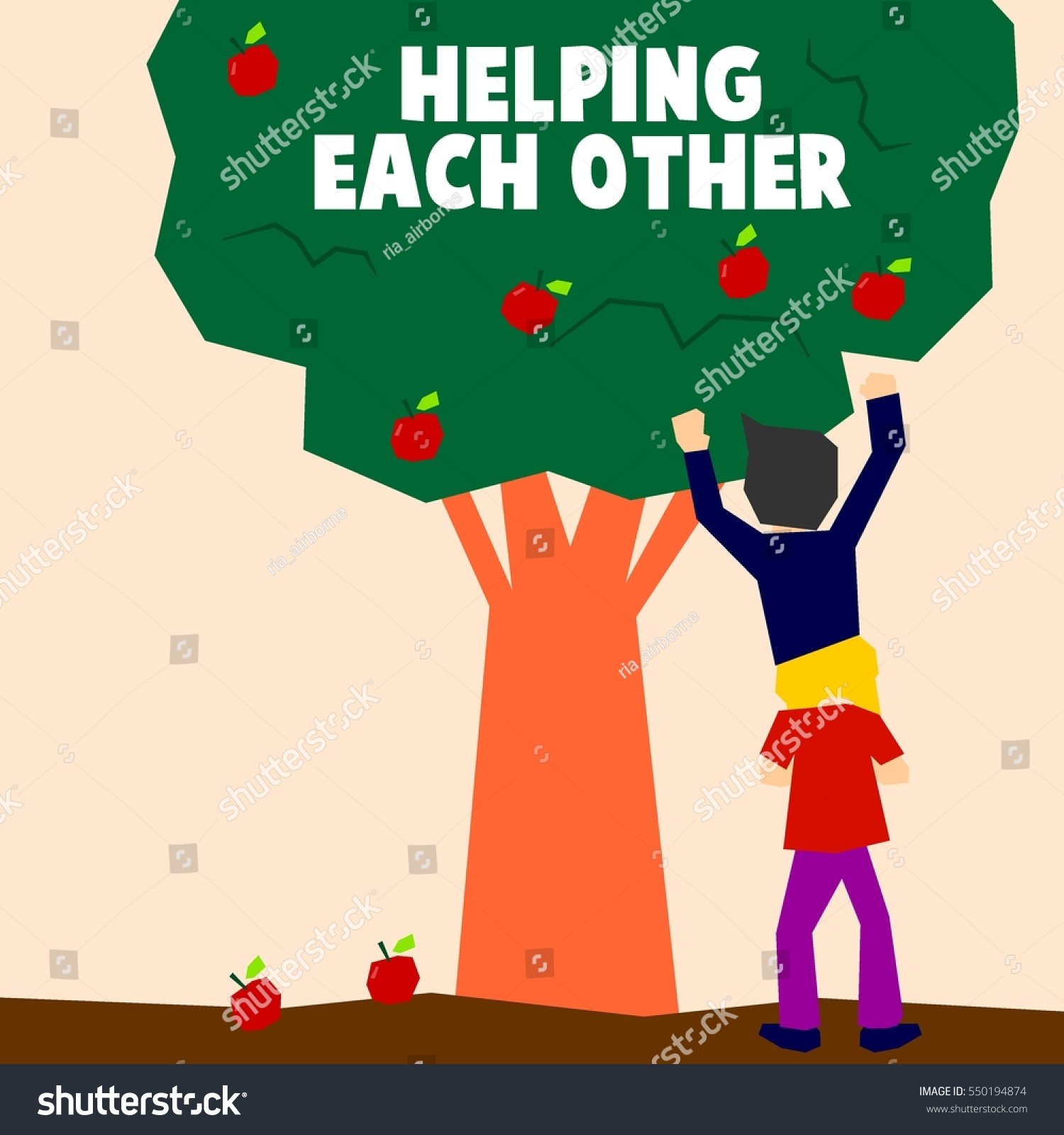 Helping Each Other: Helping Each Other Illustration Concept Stock Vector