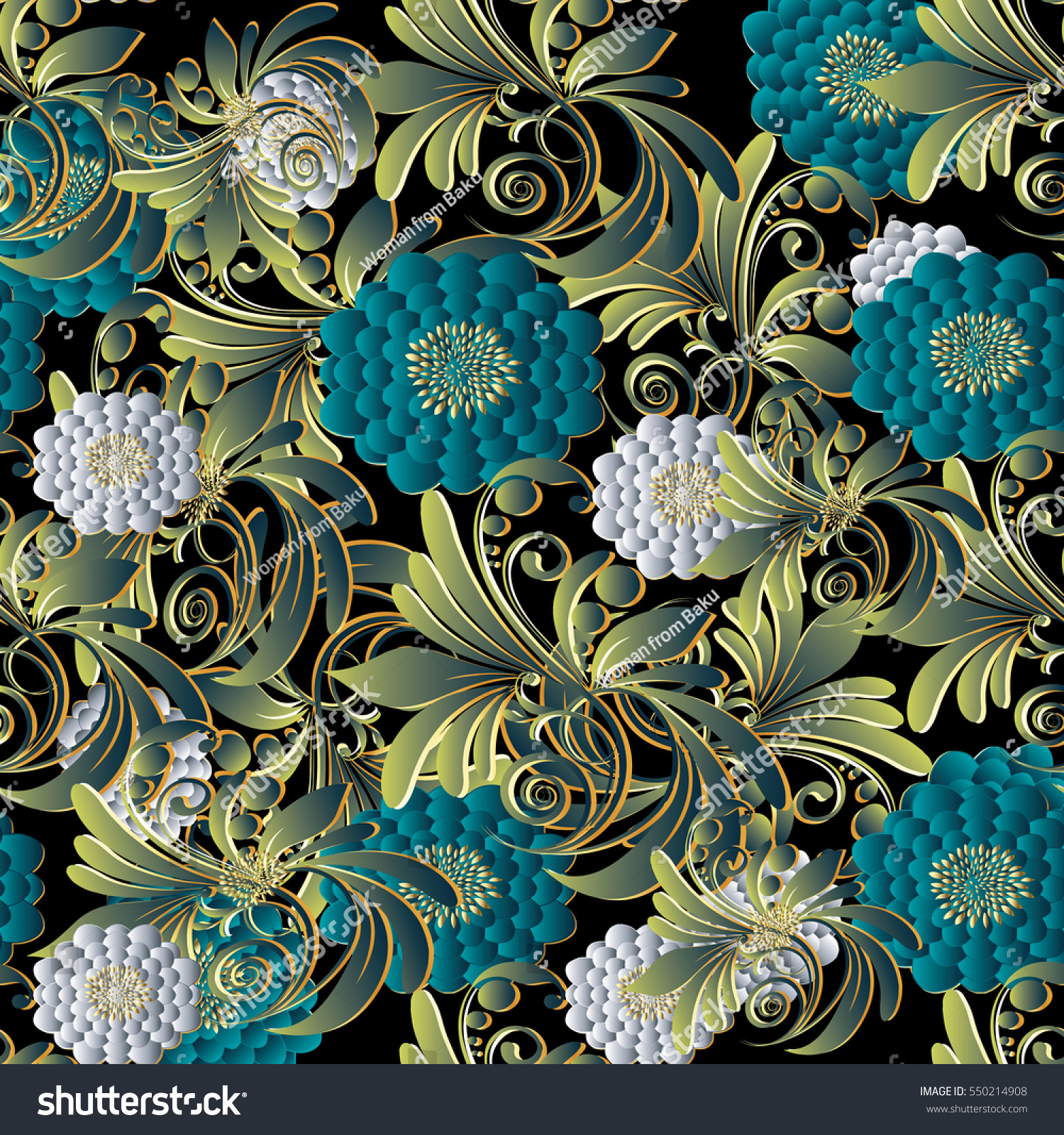 Bright Modern Floral 3d Seamless Pattern Background Wallpaper Illustration With Vintage Decorative White And Blue Surface