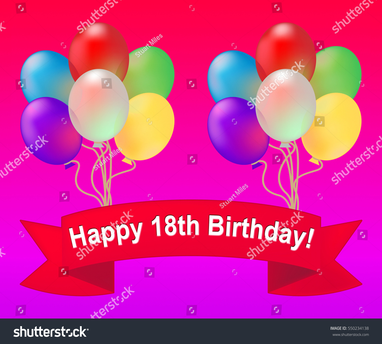 Happy Eighteenth Birthday Balloons Meaning 18th Stock