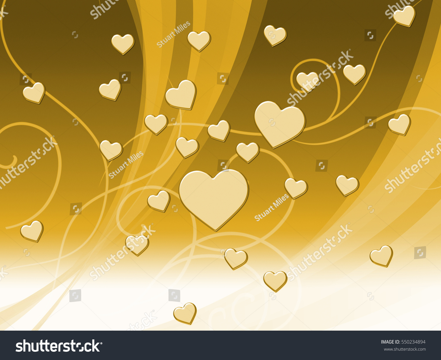 Elegant Brown Hearts Background Meaning Delicate Stock