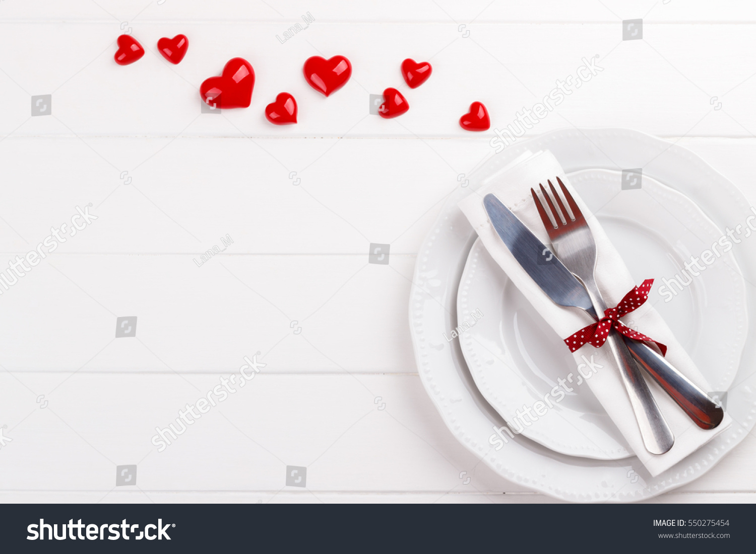 Romantic Table Setting On White Wooden Stock Photo Edit Now