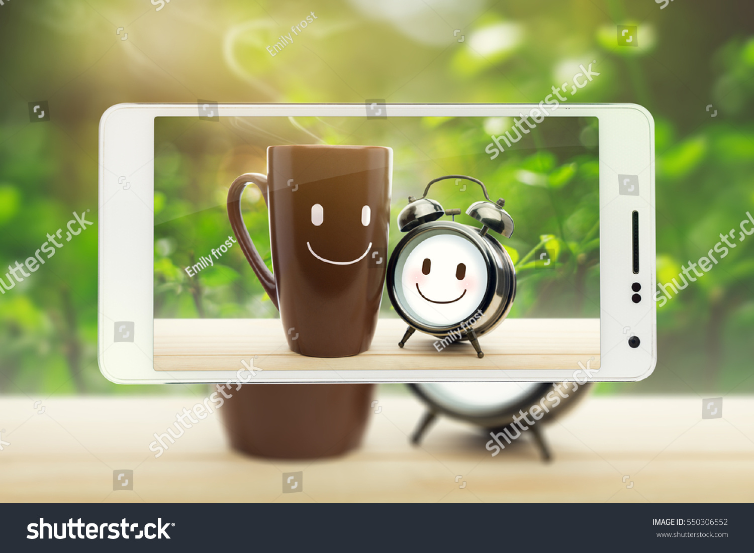 Brown Mug Alarm Clock Happy Smile Stock Photo Edit Now 550306552 Frost And With A Good Morning Or Have