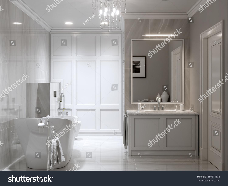 Large Furnished Bathroom Luxury Home Marble Stock Illustration ...