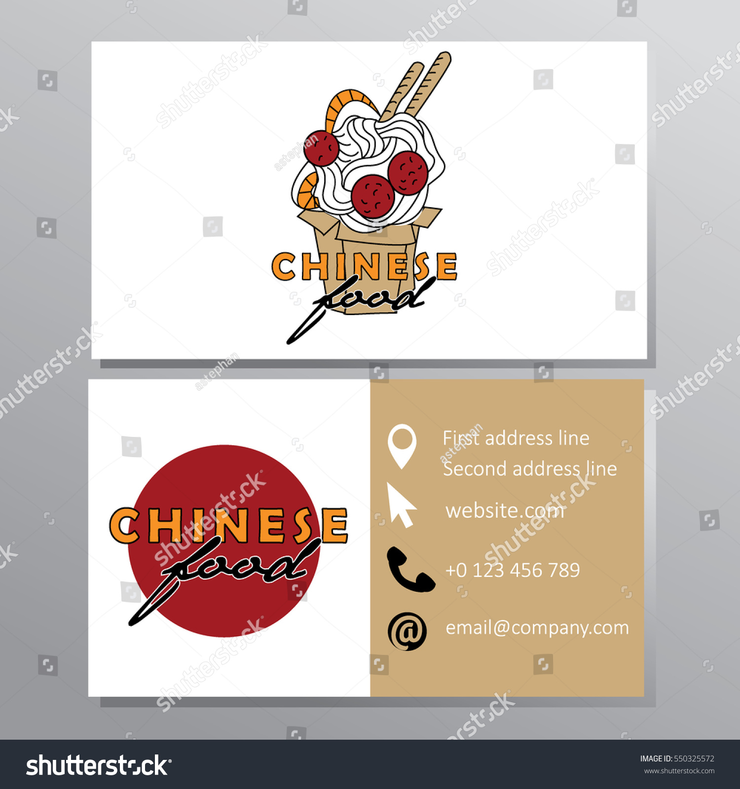 Chinese Food Noodle Bar Business Card Stock Vector 550325572 ...