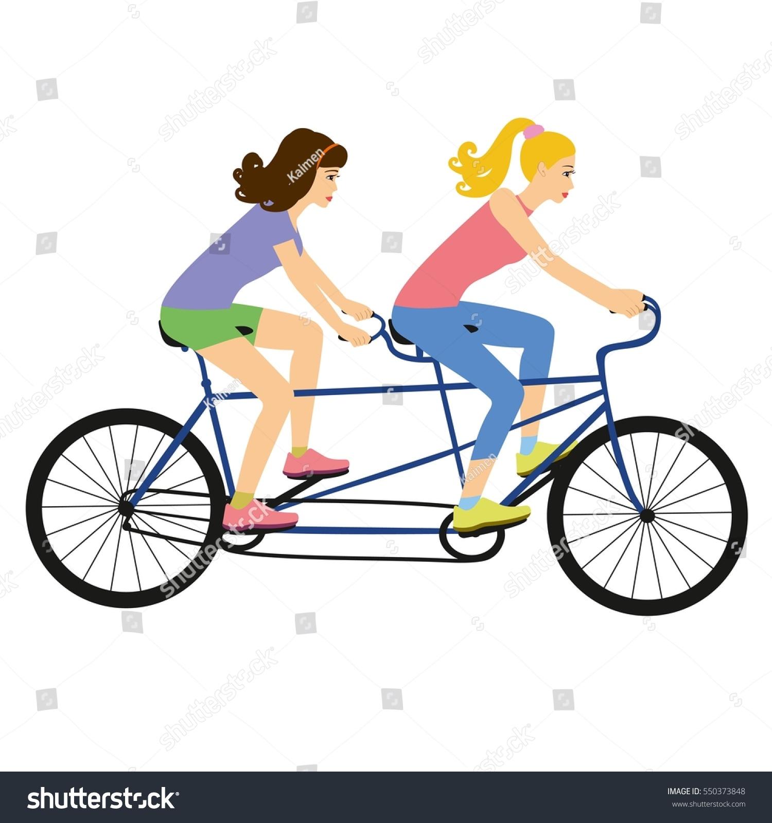 girls on tandem bike vector illustrator stock vector 550373848 rh shutterstock com vintage tandem bike clipart wedding tandem bike clipart