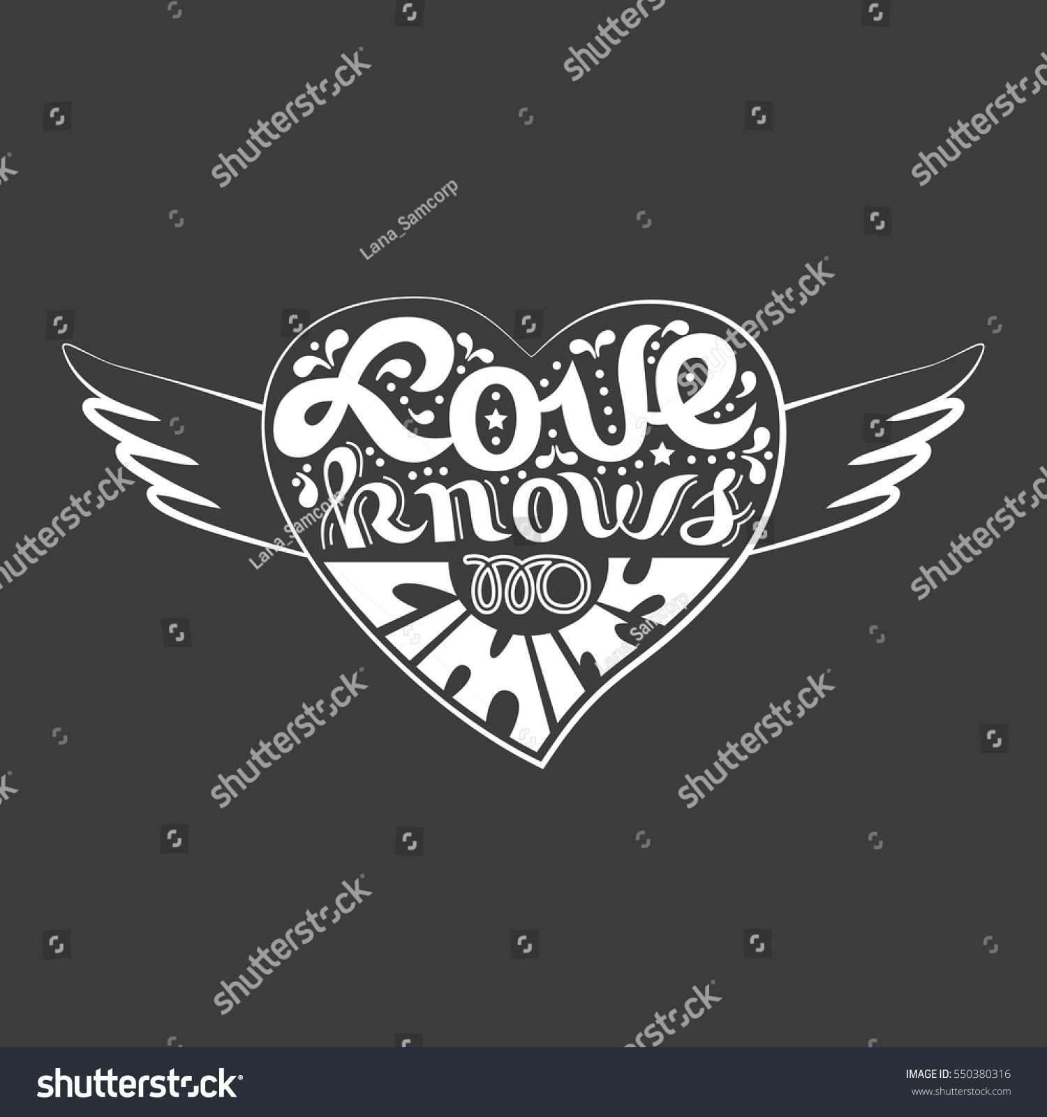 Romantic love icon inspirational quote heart stock vector inspirational quote in heart with wings freehand fancy cartoon hand lettering buycottarizona
