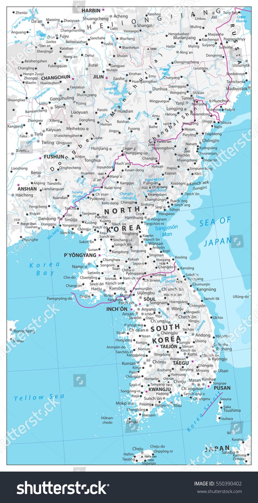 Korean Peninsula Map Physical Map Water Stock Vector - Haicheng map