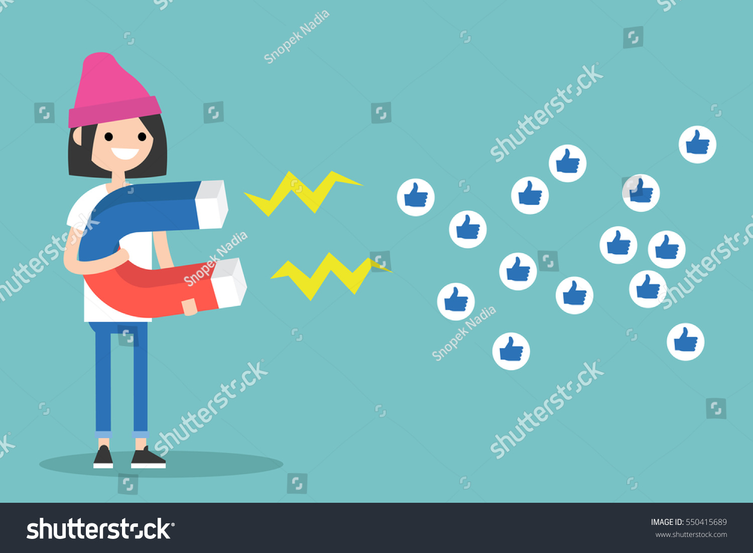 Social media marketing concept. Young brunette girl attracting likes with a huge magnet / editable flat vector illustration #550415689