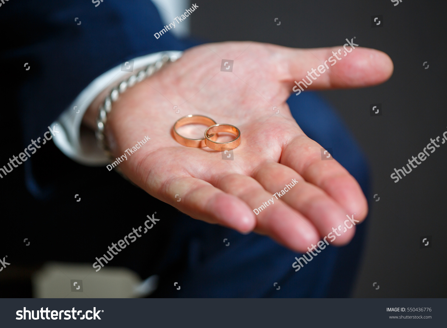 Beautiful Wedding Rings On Palm Groom Stock Photo (Royalty Free ...