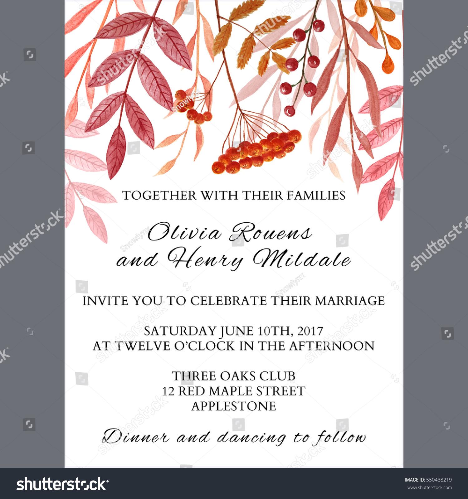 Autumnal Wedding Invitation Card Template Stock Illustration