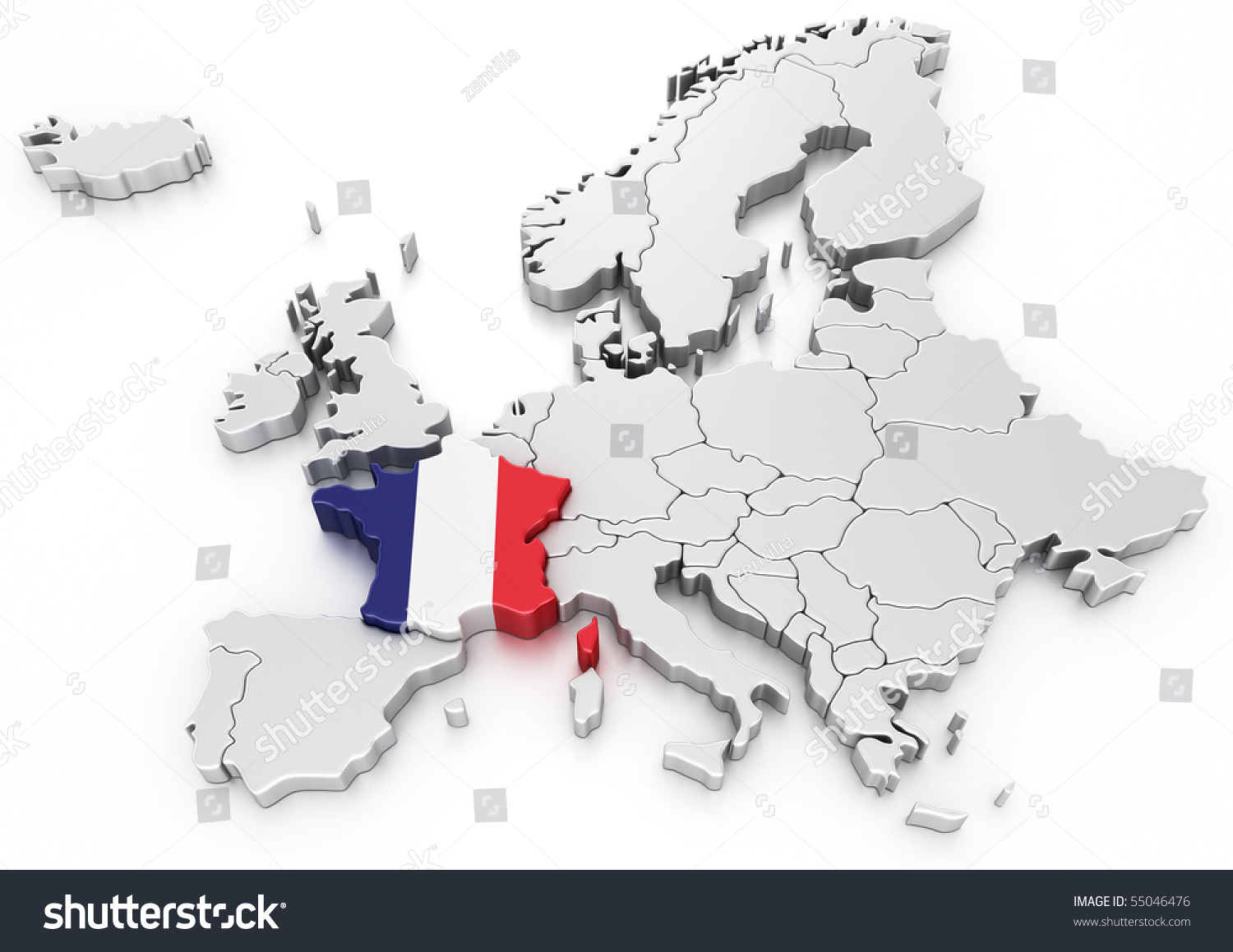 3 d rendering map europe france selected stock illustration 55046476 3d rendering of a map of europe with france selected gumiabroncs Gallery