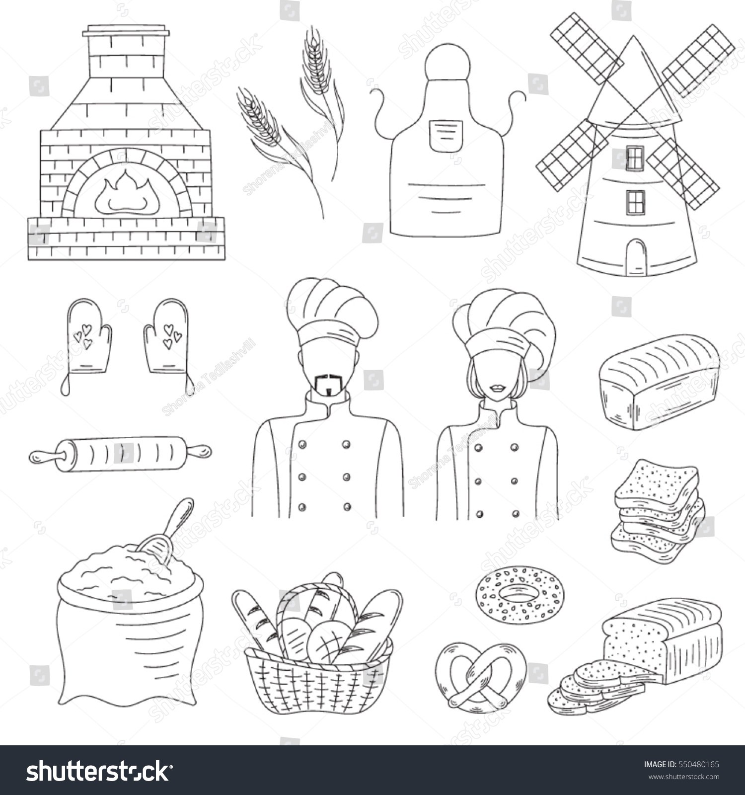 Bakery Collection Bakers Chief Uniforms Old Stock Photo (Photo ...
