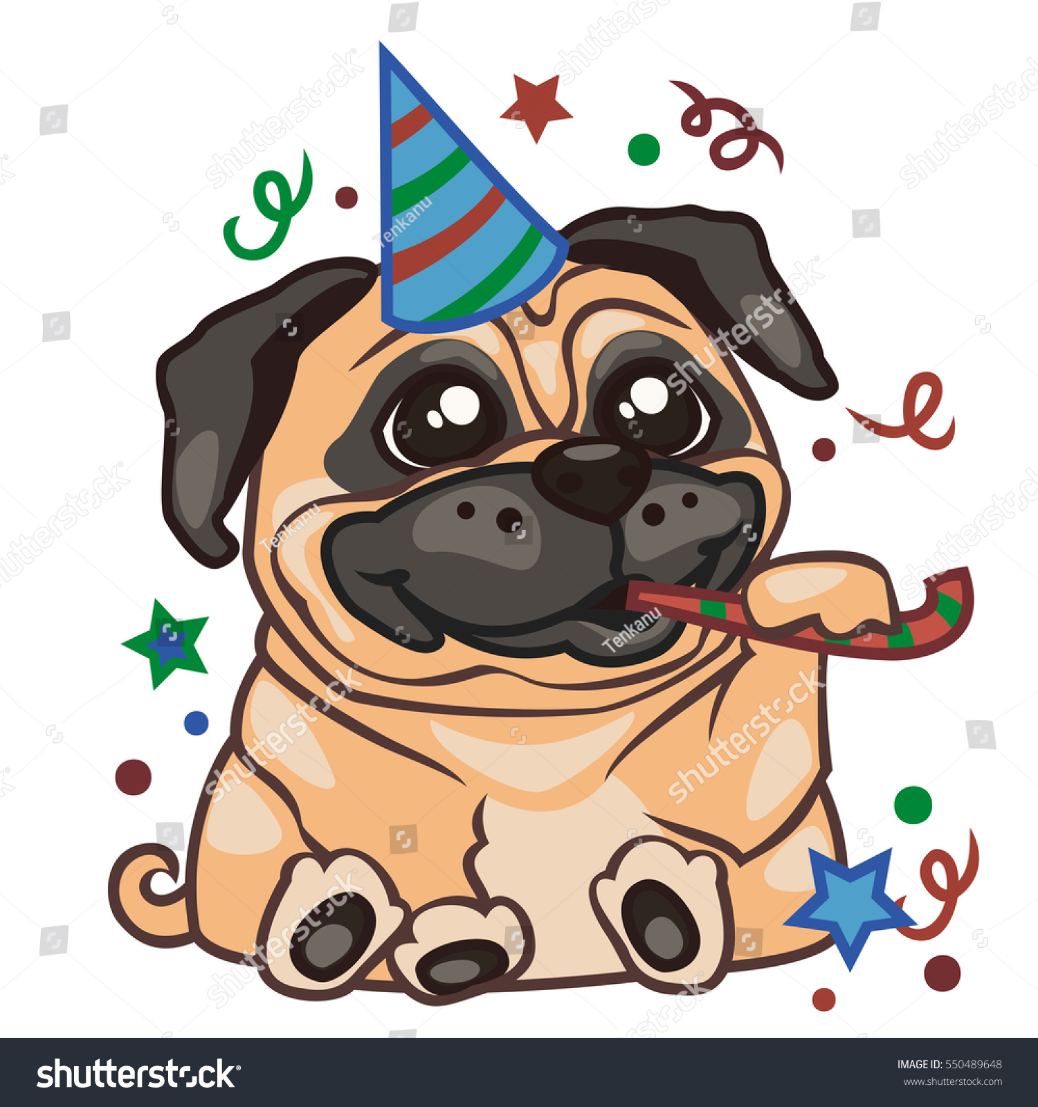 Sticker Pug Dog Illustration On Birthday Vector de stock (libre de ...