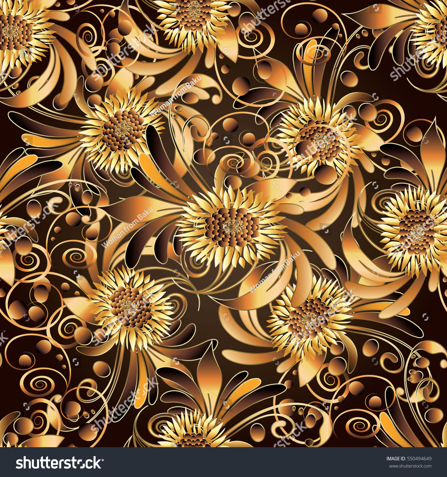 Gold luxury floral 3d seamless pattern stock vector for Luxury 3d wallpaper