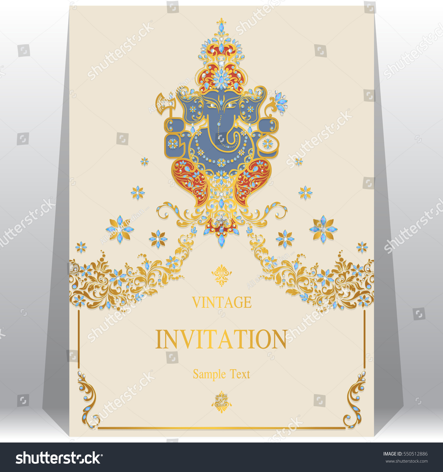 Indian Wedding Invitation Card Templates Gold Stock Vector 550512886 ...