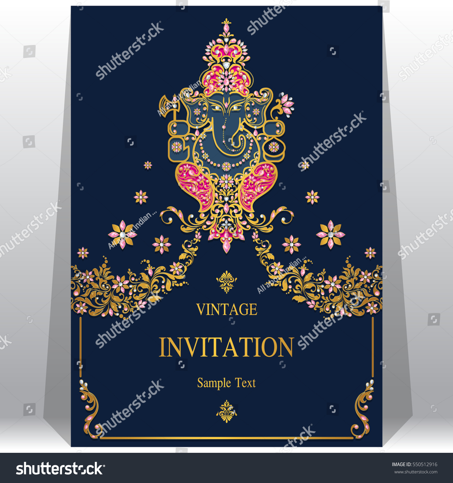 Indian Wedding Invitation Card Templates Gold Stock Vector Royalty Free 550512916