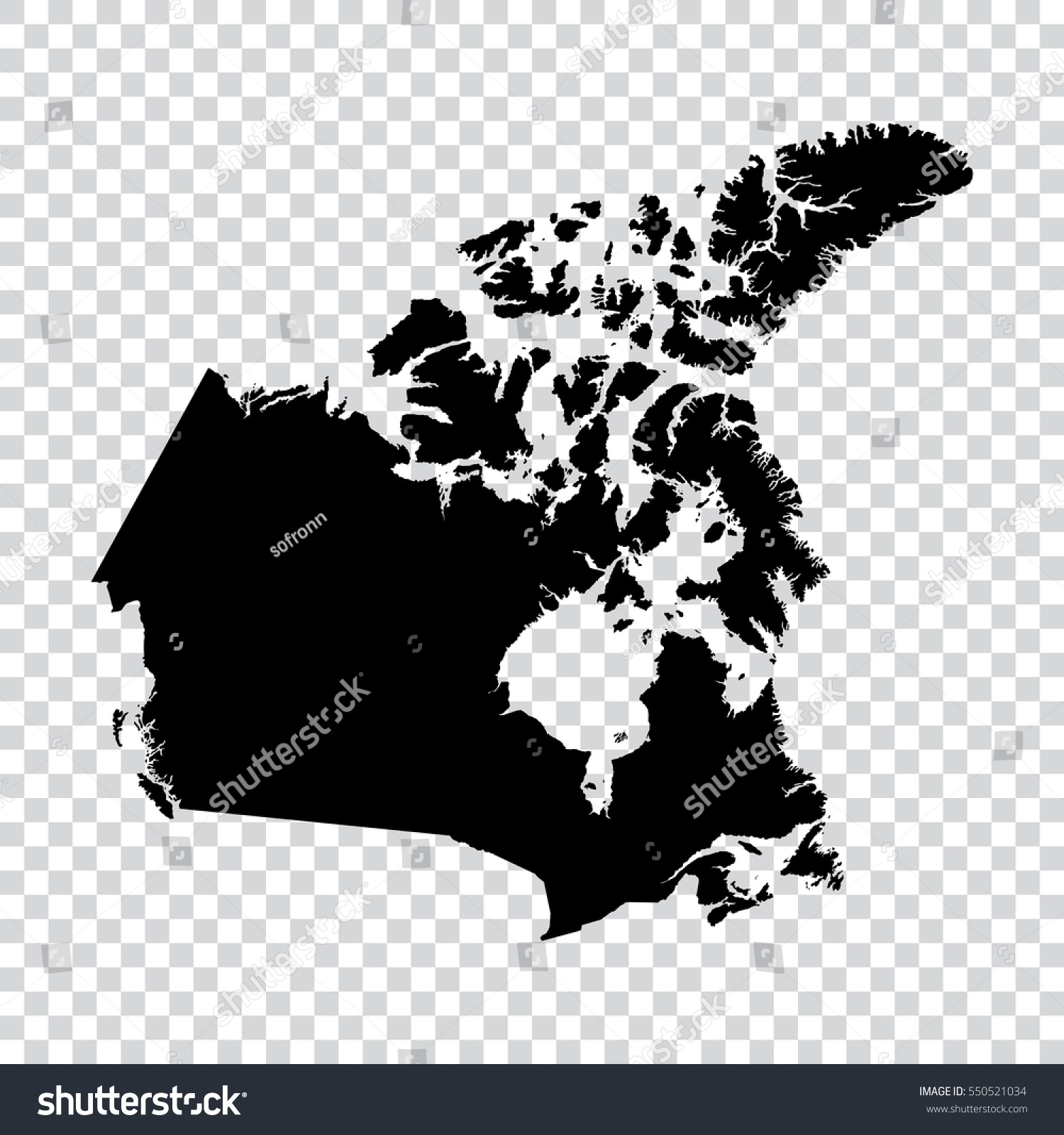 Map Of Canada Eps.Transparent High Detailed Black Map Canada Stock Vector Royalty