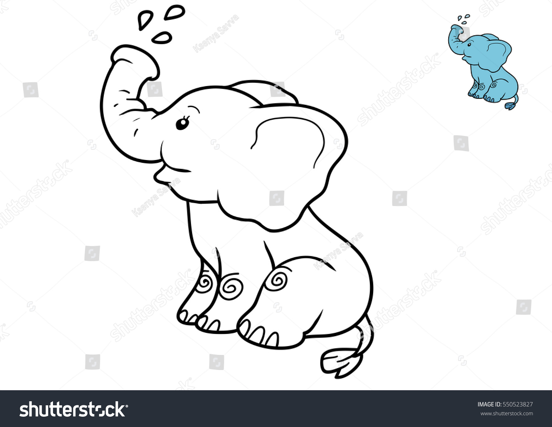 Coloring Book Children Elephant Stock Illustration 550523827 ...