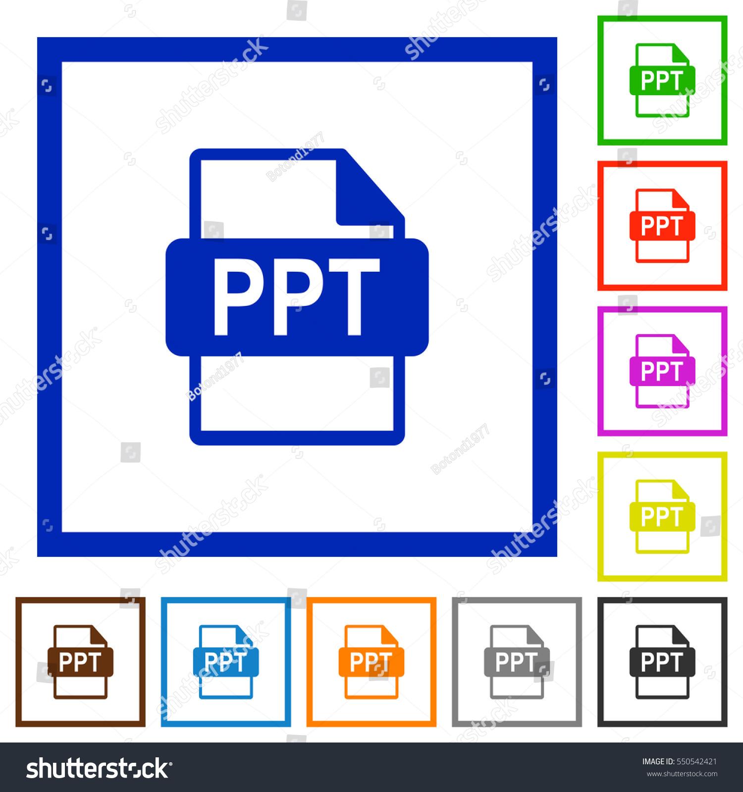 ppt file format flat color icons のベクター画像素材 ロイヤリティ