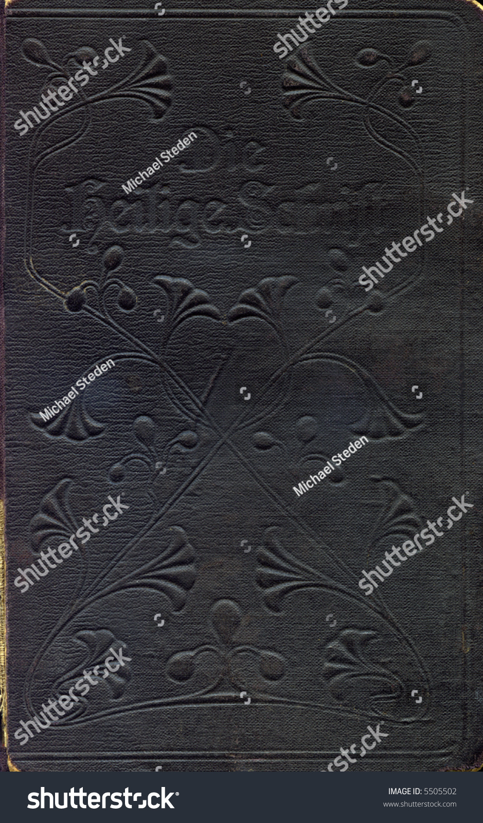 Vintage Leather Look Jeremiah Verse Bible Book Cover Large: Ancient Old Bible Cover Front The Holy Book Stock Photo
