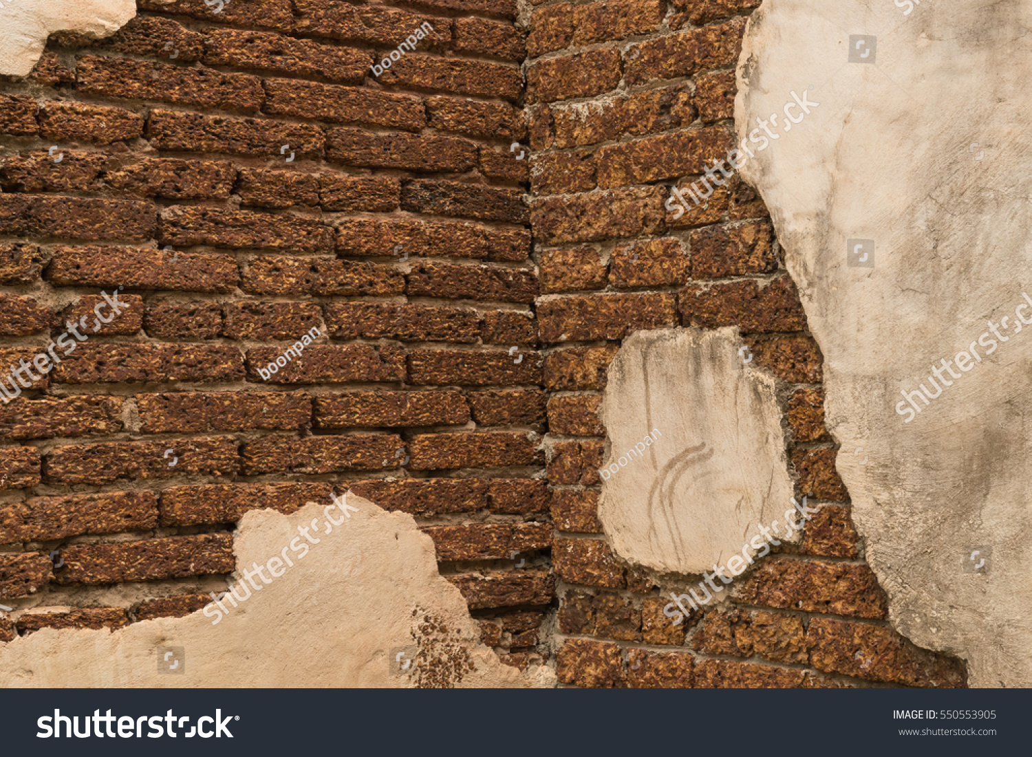 Beautiful Old Brick Wall White Plaster Stock Photo