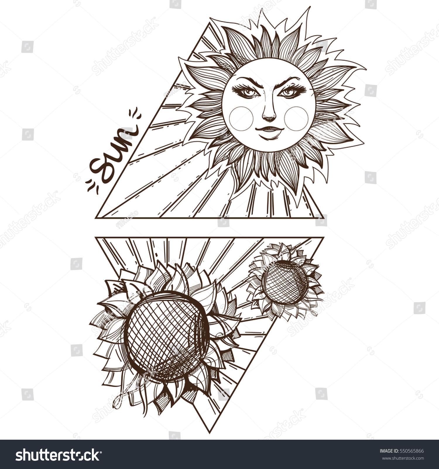 Sun Planets Stars Solar System Symbols Stock Vector