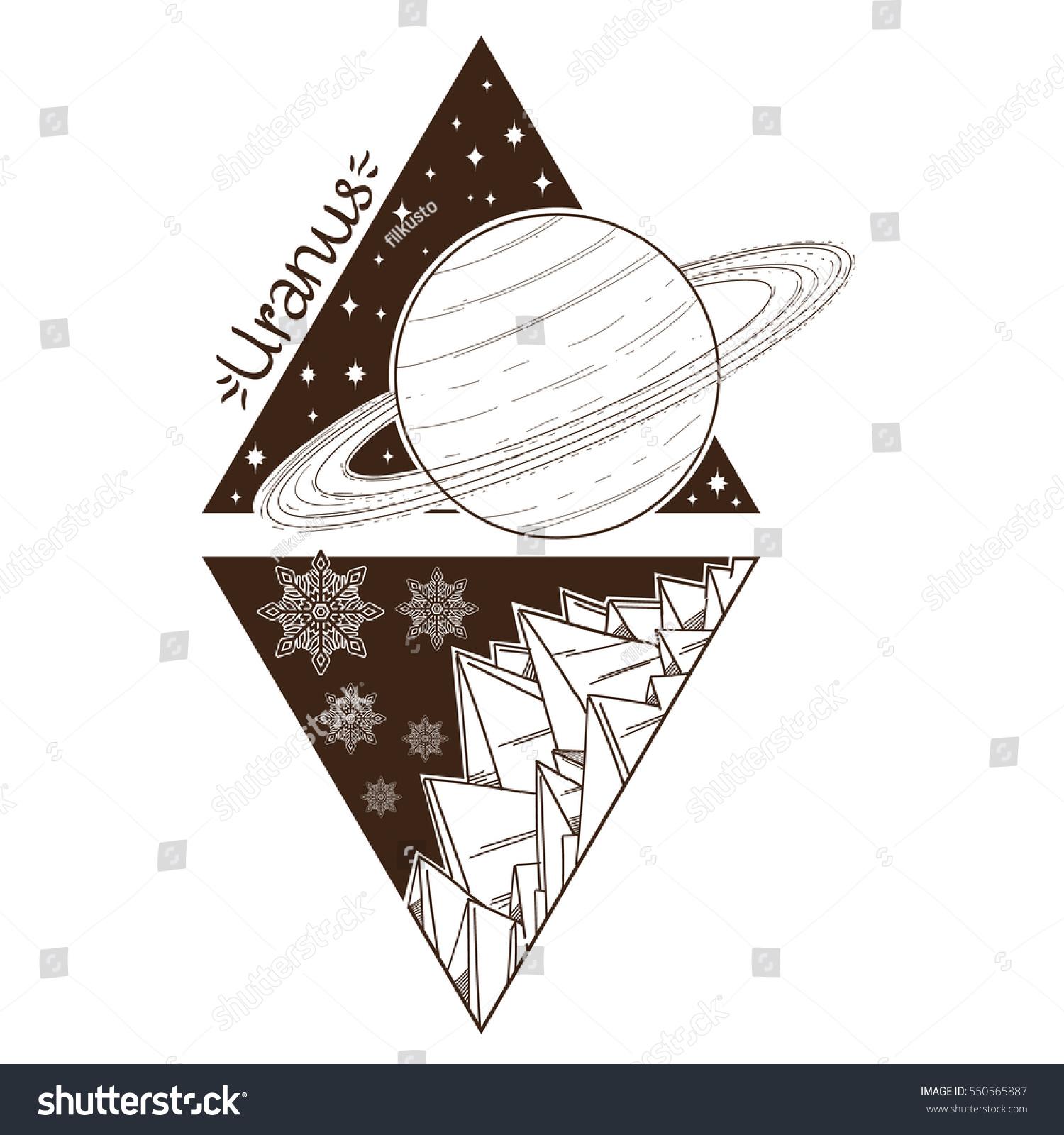 Uranus Planets Stars Solar System Symbols Stock Vector 550565887