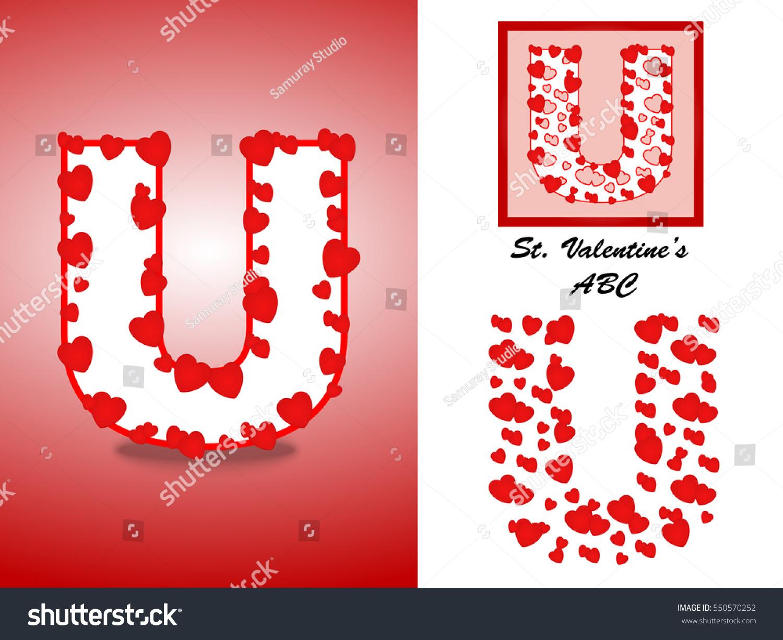 Alphabet Letter U Red Heart Valentine Stock Vector (Royalty Free ...