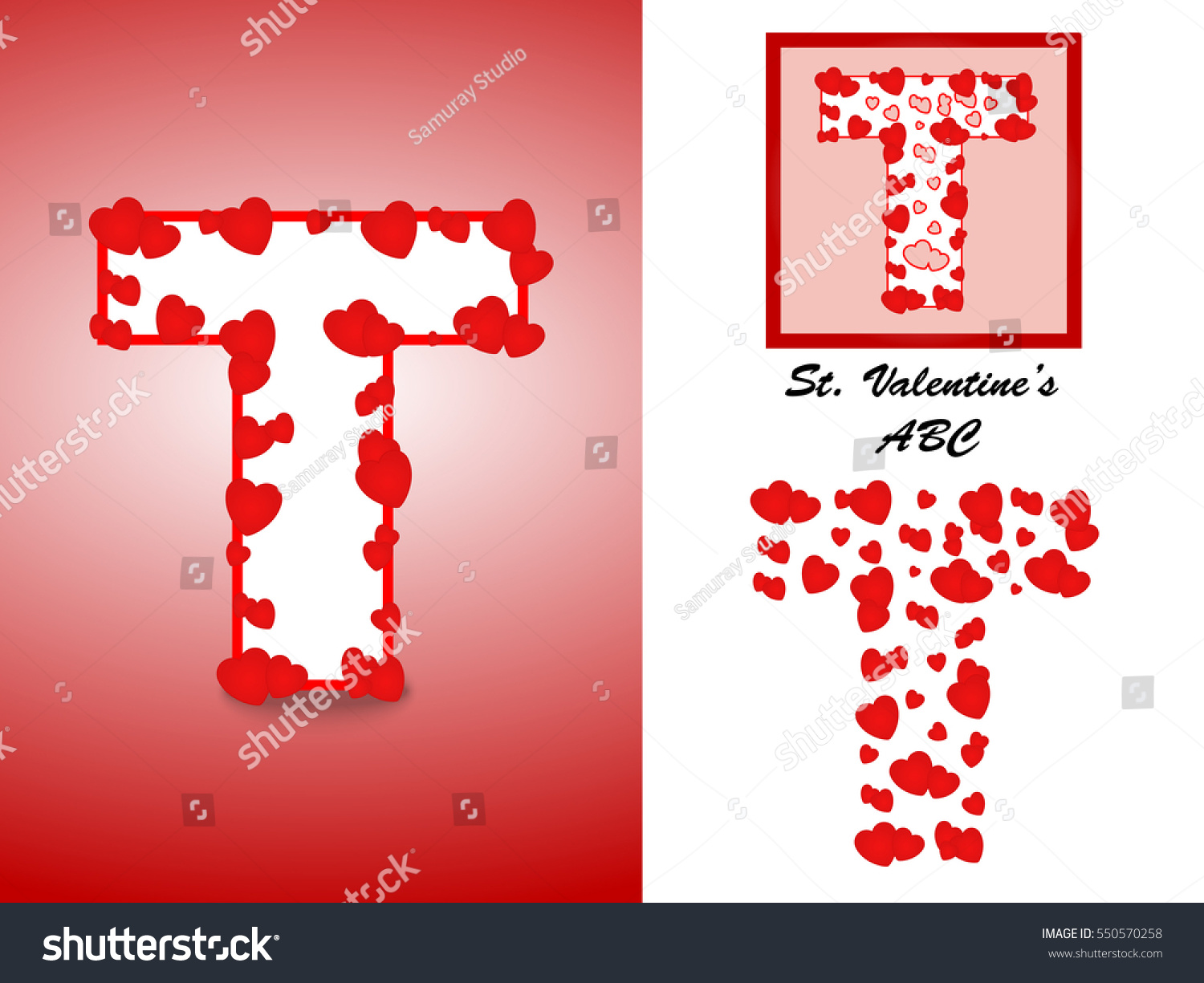 Alphabet Letter T Red Heart Valentine Stock Vector (Royalty Free ...