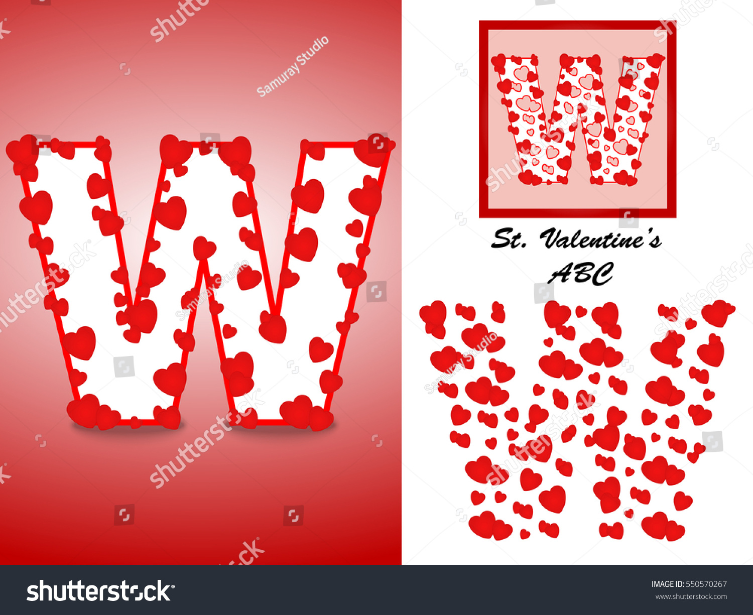 Alphabet Letter W Red Heart Valentine Stock Vector (Royalty Free ...