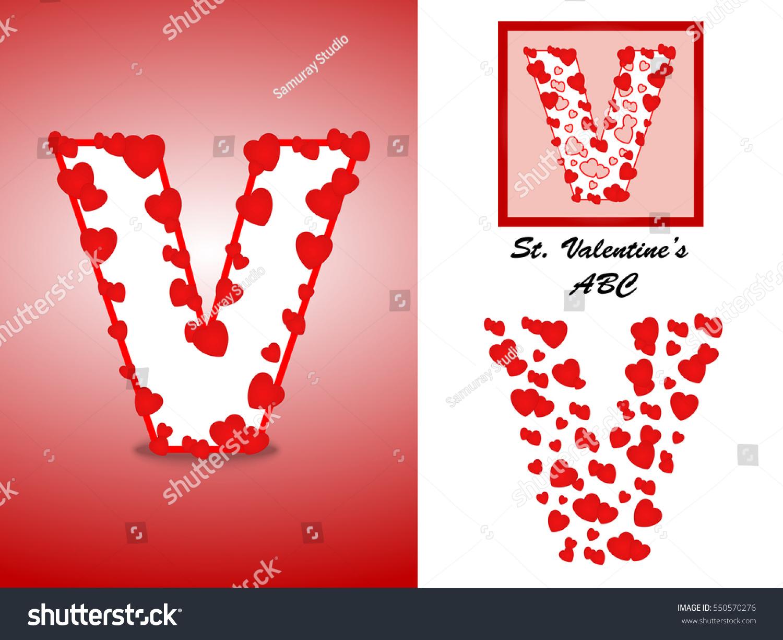 Alphabet Letter V Red Heart Valentine Stock Vector (Royalty Free ...