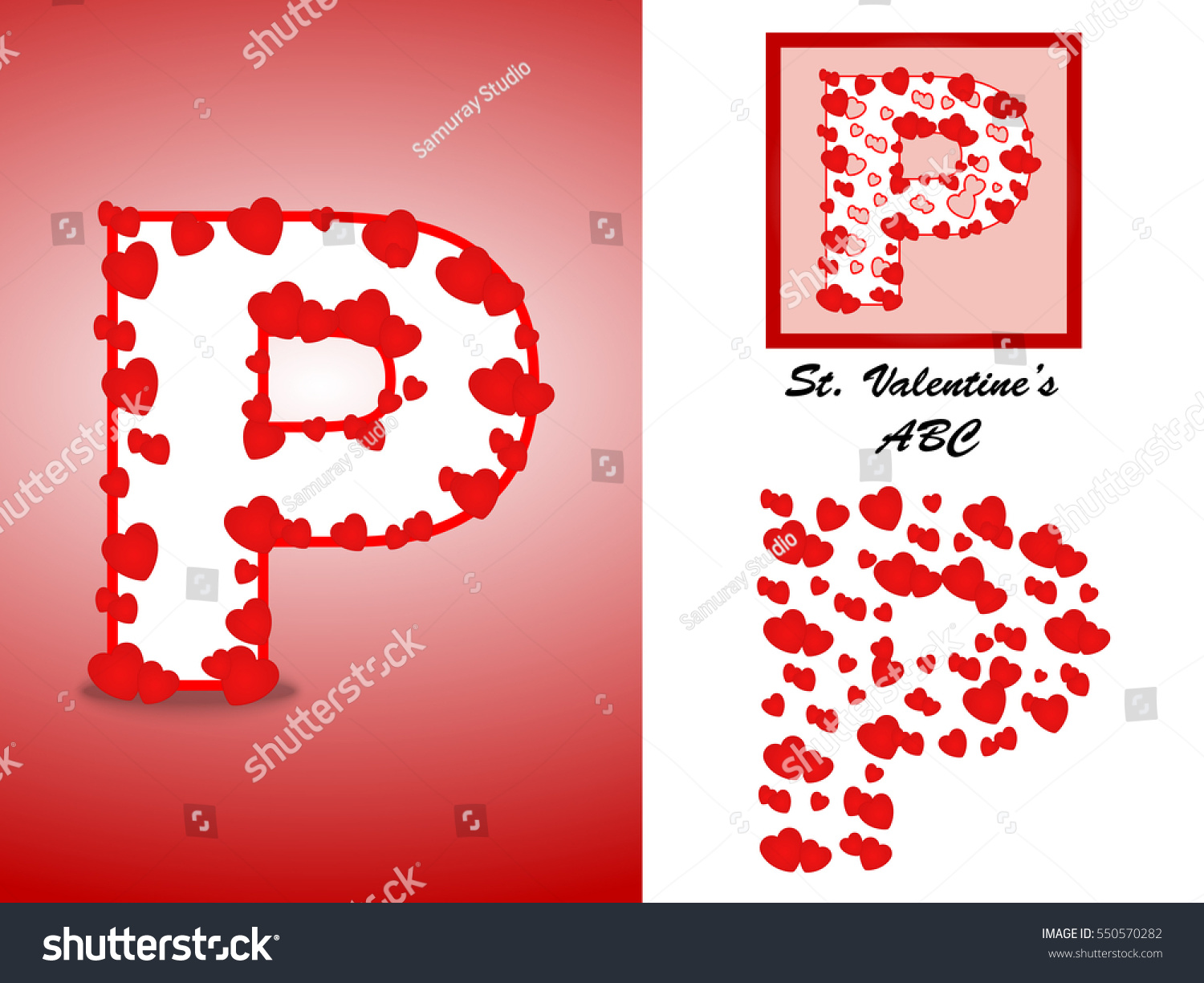 Alphabet Letter P Red Heart Valentine Stock Vector (Royalty Free ...