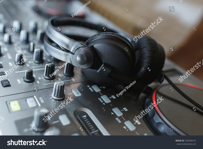 Dj Mixer Headphones Elements Details Artists Stock Photo