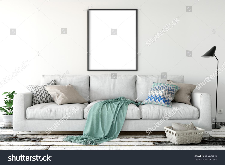 Mock Posters Living Room Interior Interior Stock Illustration ...