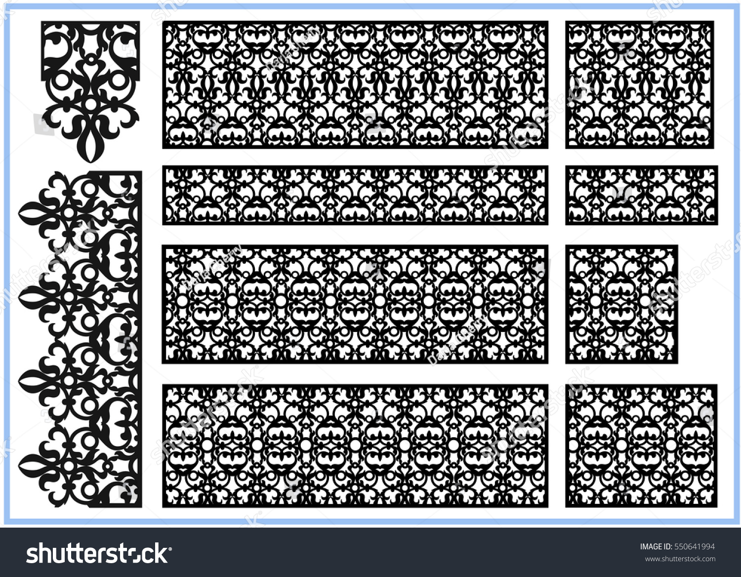 Set Ornaments Template Pattern Decorative Panel Stock Vector ...