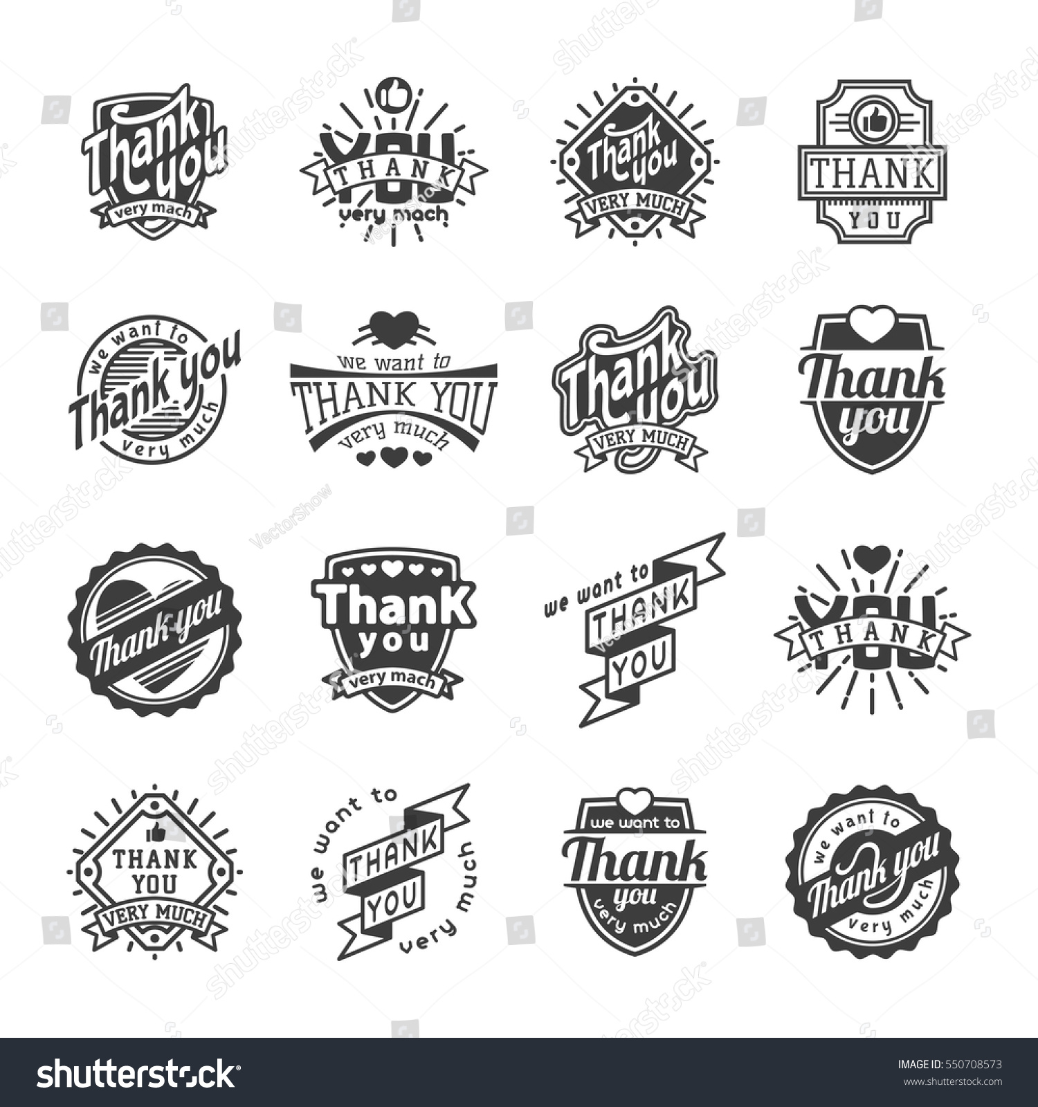 Thank You Text Lettering Vector Logo Stock Vector Royalty Free
