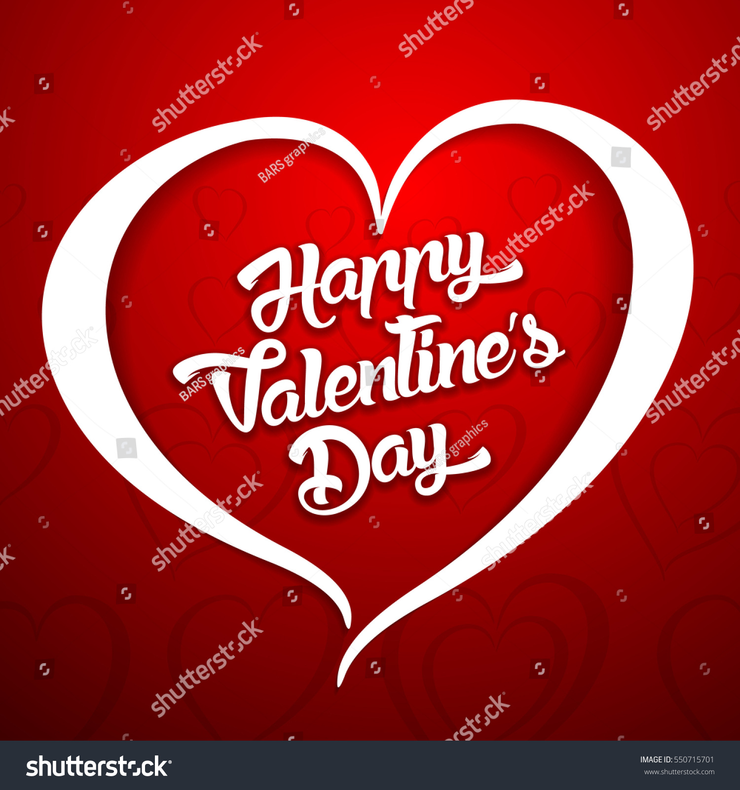 Happy Valentines Day Handwritten Lettering Design Stock Vector