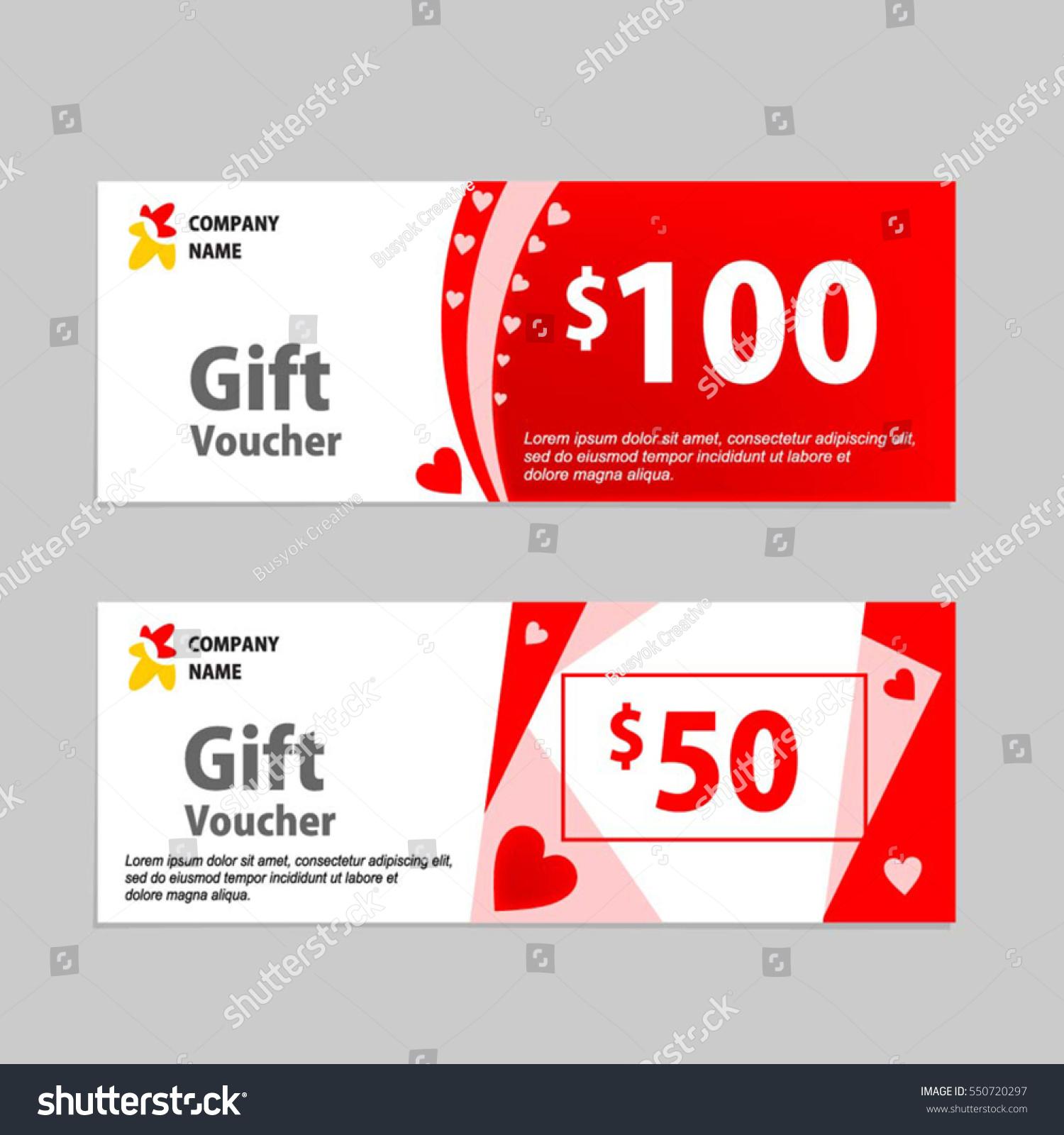 Valentine Gift Voucher Card Template Design Vector 550720297 – Voucher Card Template