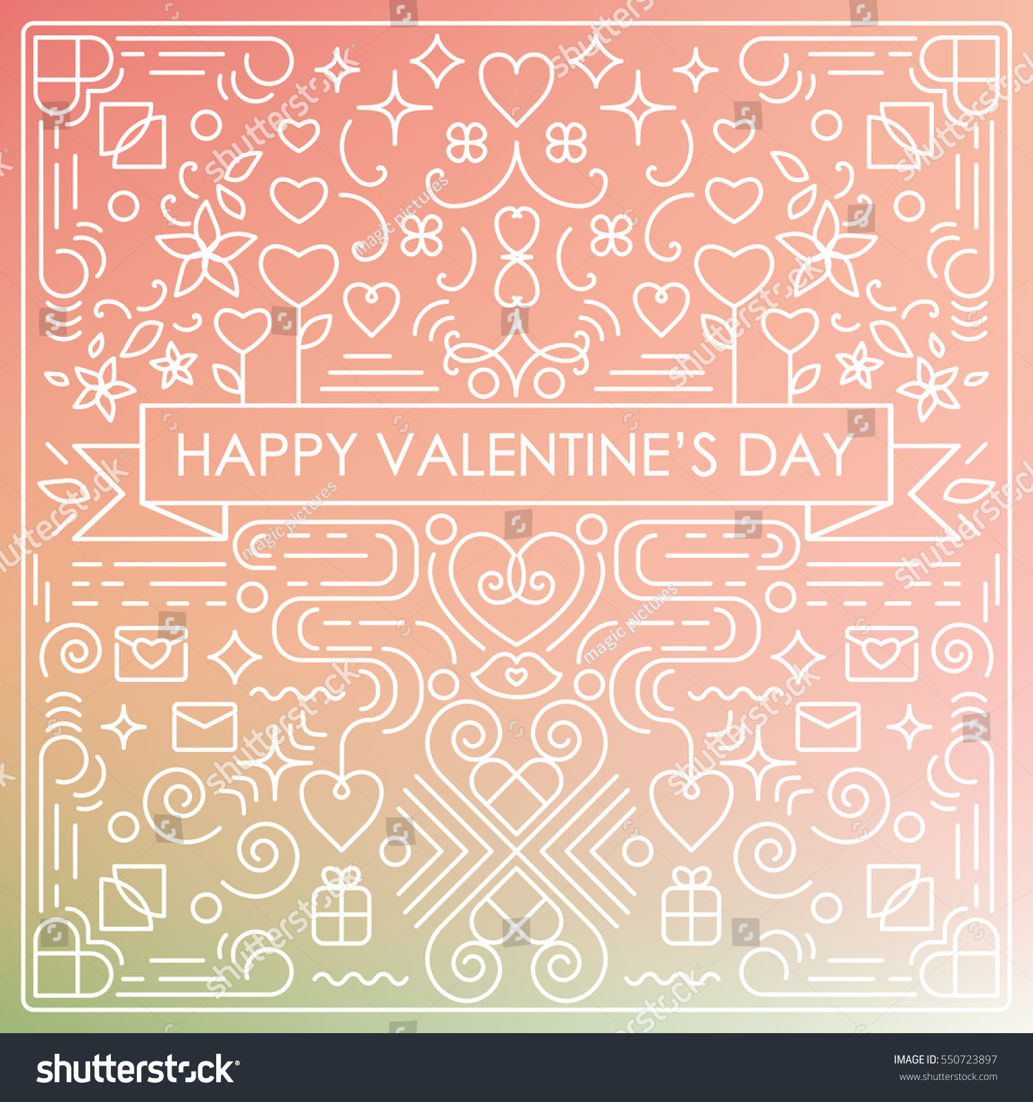 Vector Illustration Valentines Day Greeting Card Stock Vector Hd