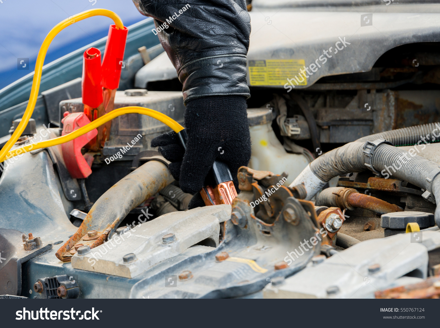 Attaching Jumper Cable Boost Car Positive Stock Photo (Edit