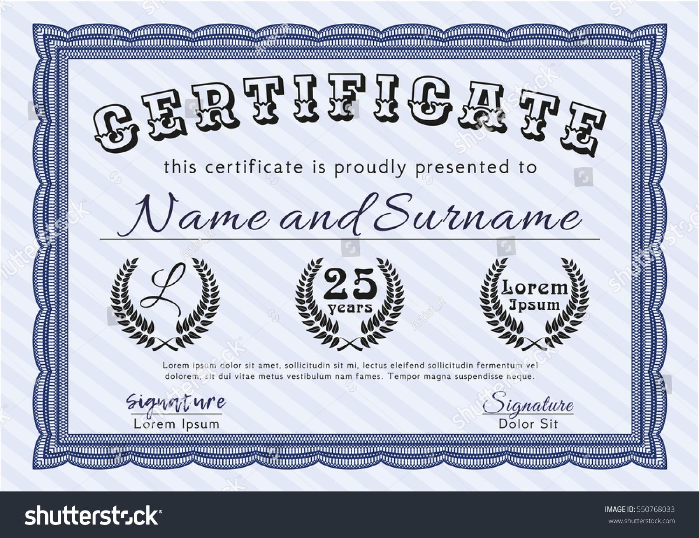 Blue Certificate Diploma Or Award Template Printer Friendly