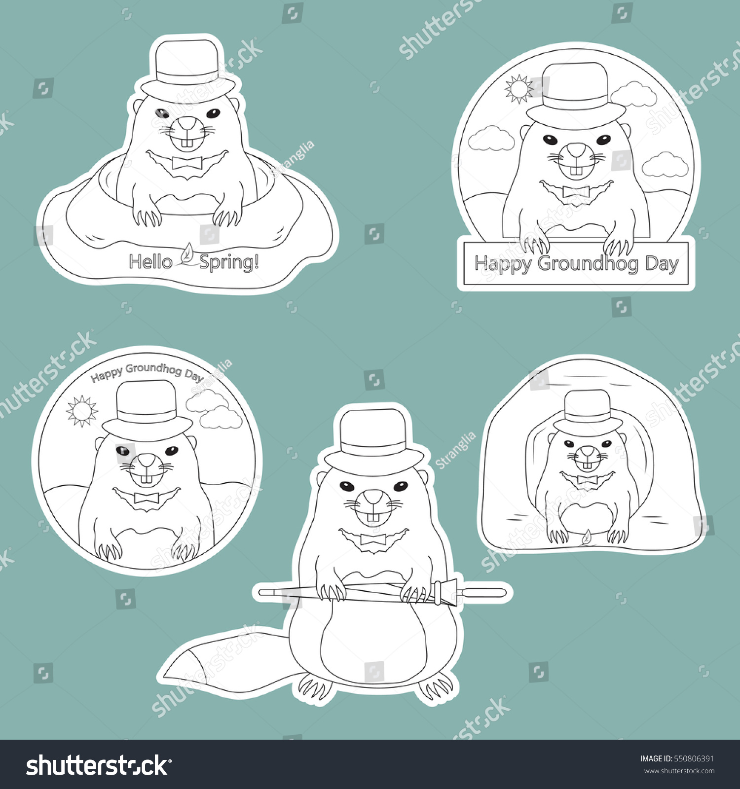 Coloring Page Set Stickers Happy Groundhog Stock Vector