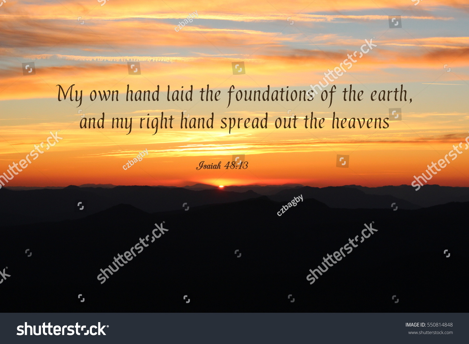 Beautiful Sunset Over The Horizon With A Bible Verse