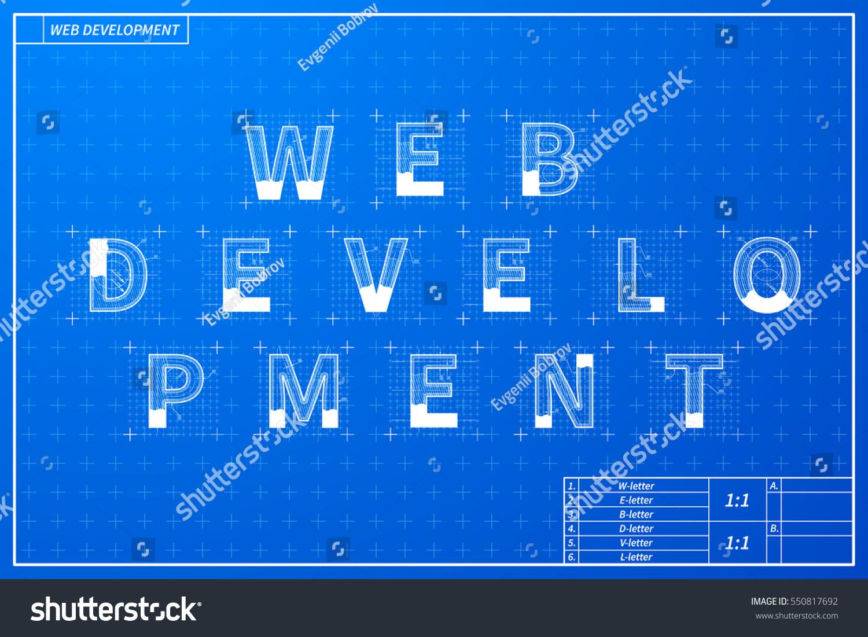 Web development phrase scheme blueprint style stock vector hd web development phrase scheme in blueprint style with marks malvernweather Gallery