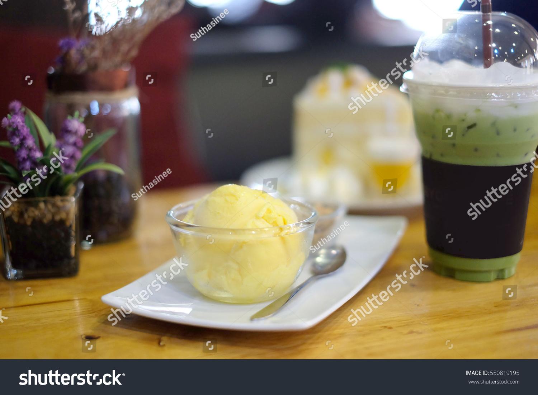 mango sherbet ice cream cake green stock photo royalty free