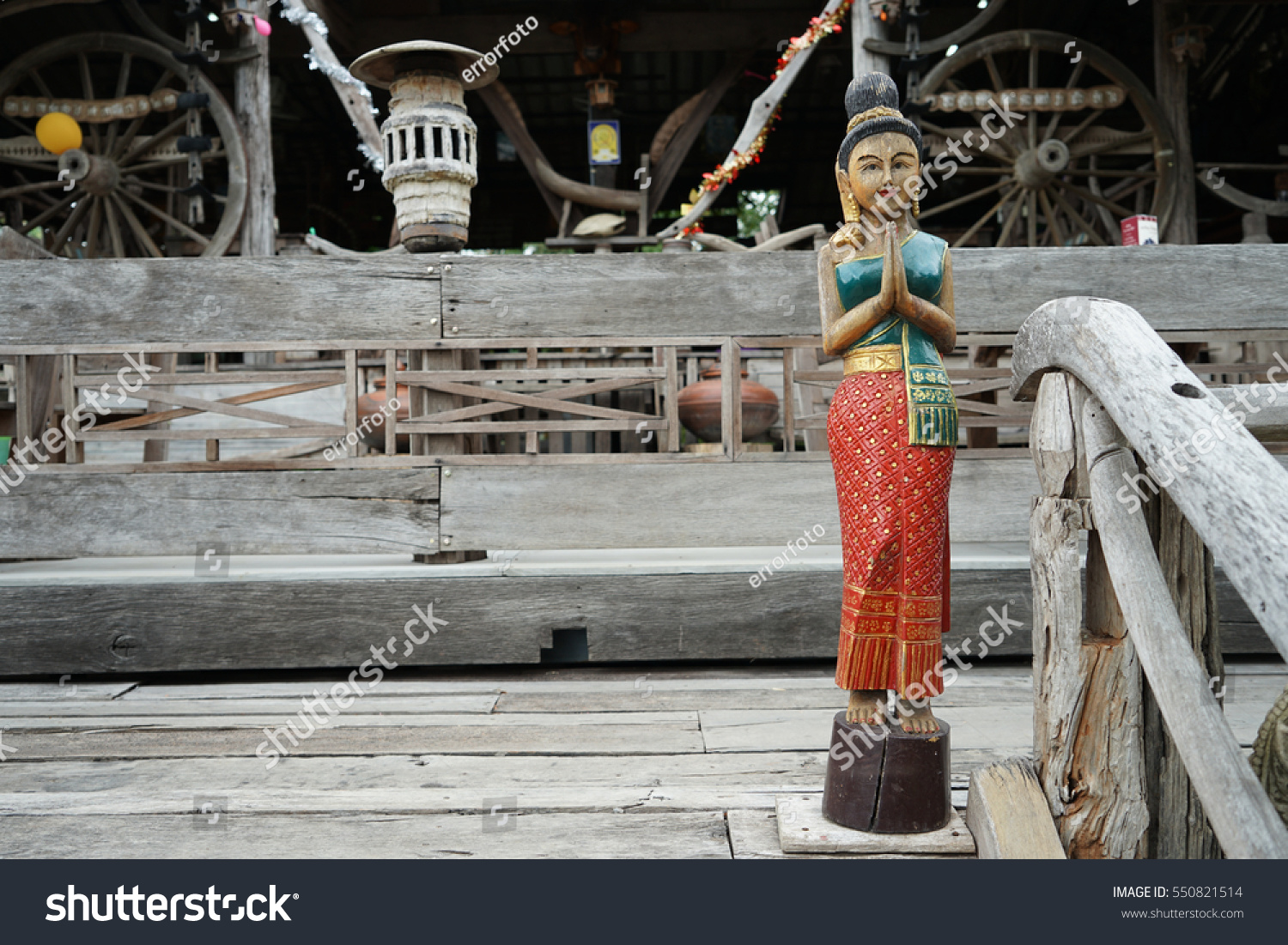 Wooden Carving Representing Thai Greeting Posture Stock Photo Safe