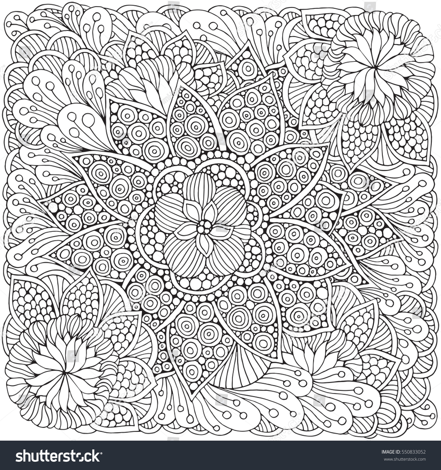 Pattern For Adult Coloring Book Ethnic Floral Retro Doodle Vector
